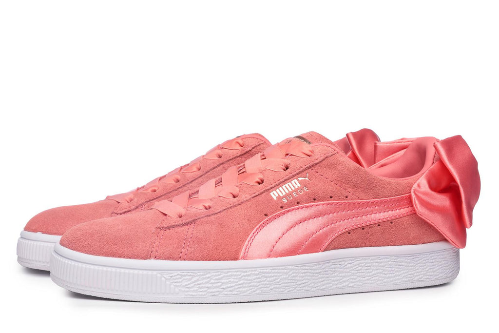 puma suede bow trainers in pink - 62