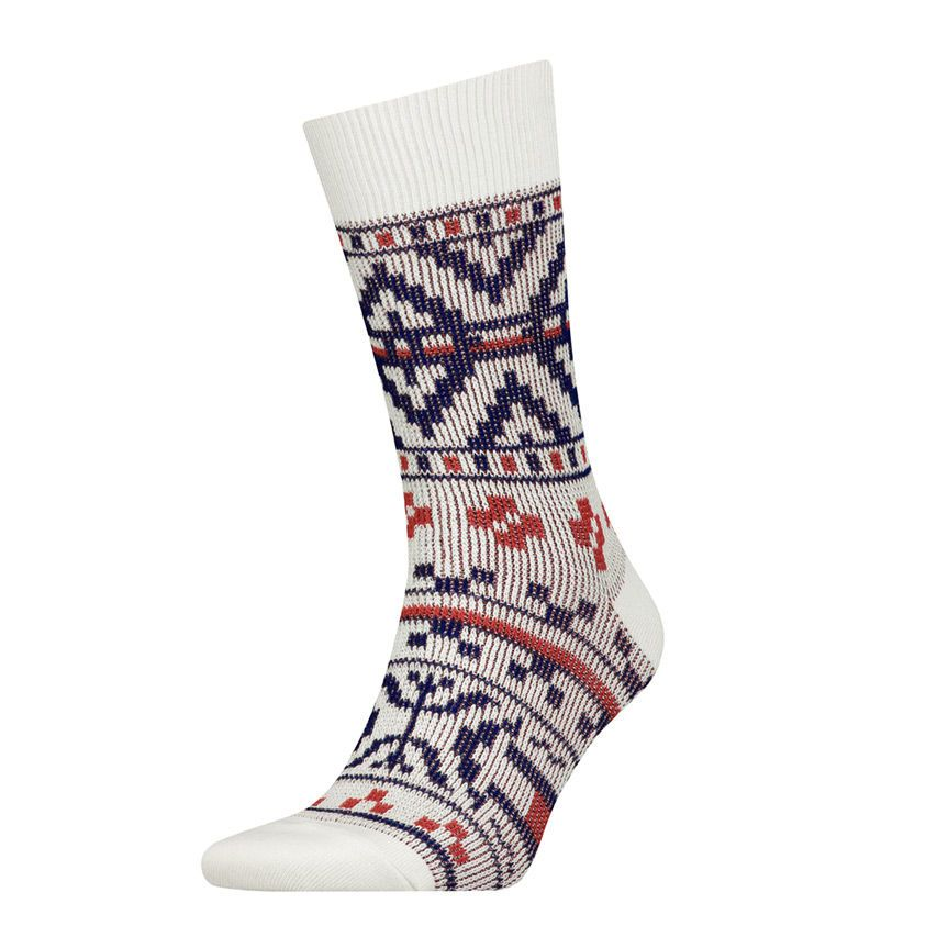 Tommy Jeans Vintage Fair Isle Jaquard Socks Off White