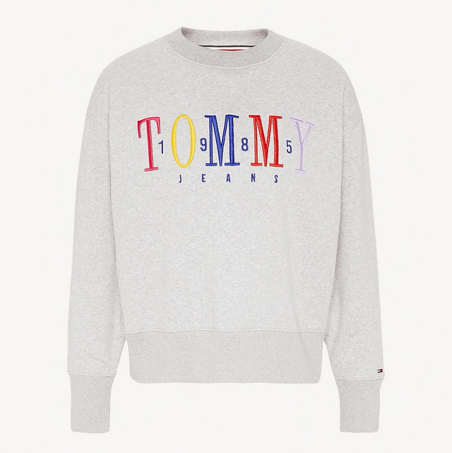 Tommy Jeans Fleece 1985 Logo Sweatshirt Grey  DW0DW06128
