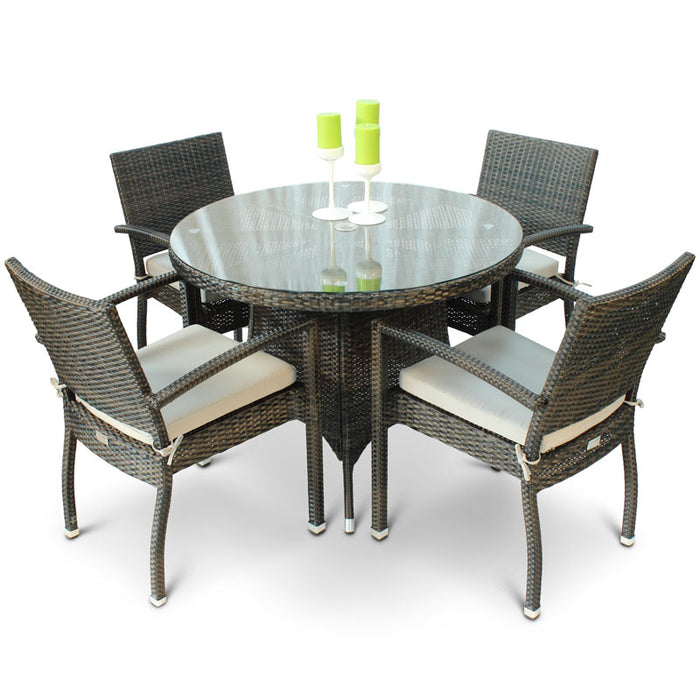 BrackenStyle Diego Rattan Dining Set with Glass Top Table