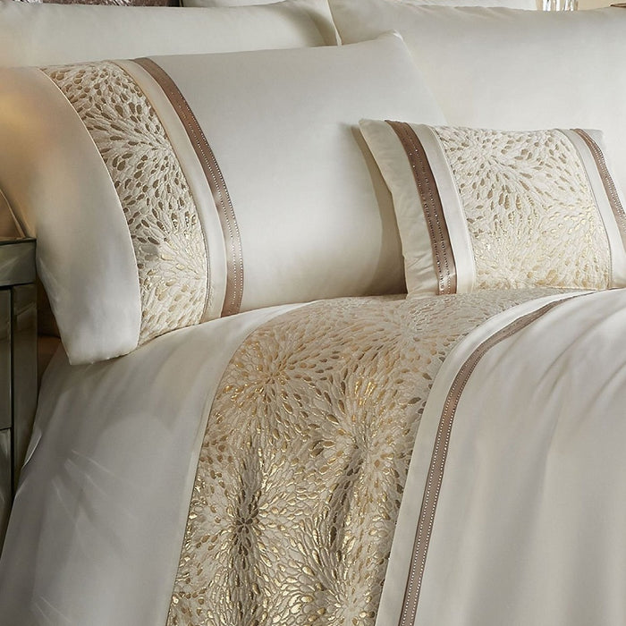 Catherine Lansfield Luxor Jacquard Bedspread Gold, 240x260cm