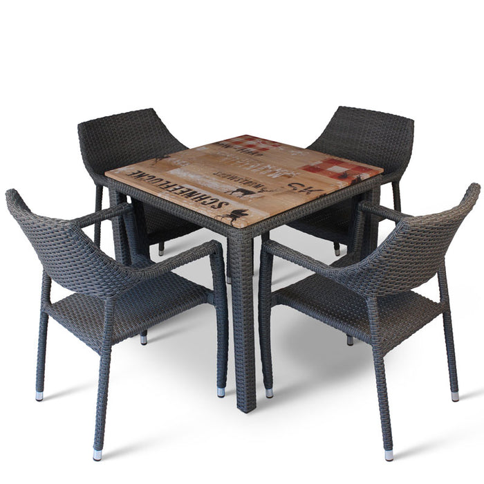 BrackenStyle Oasis Pallet Design Table & Chairs Set - Seats 4