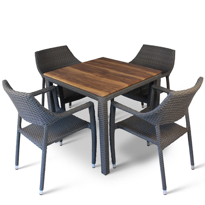 BrackenStyle Oasis Shesman Wooden Table & Chairs Set - Seats 4