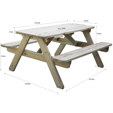 BrackenStyle Rectangular Pine picnic table - Seats 6