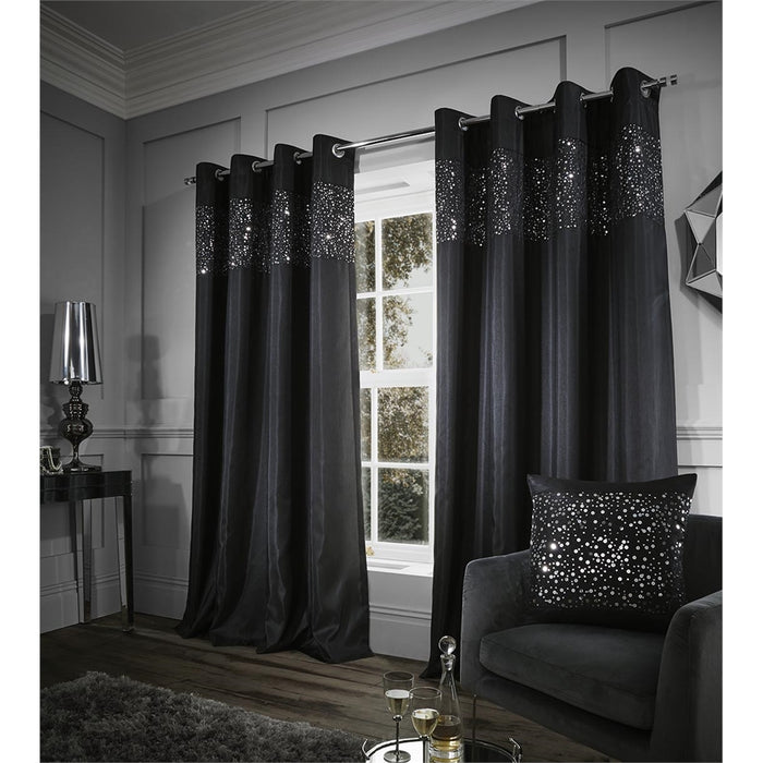 Catherine Lansfield Glitzy Eyelet Curtains Black, 66x54 Inch