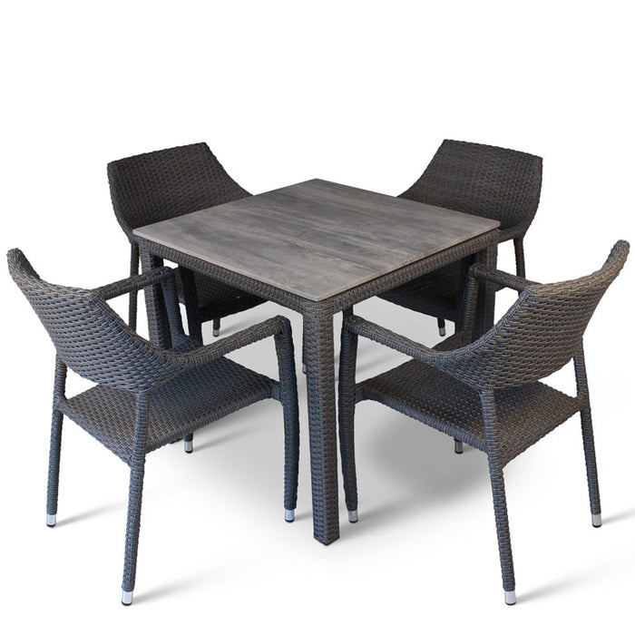 BrackenStyle Oasis Cement Effect Table & Chairs Set - Seats 4