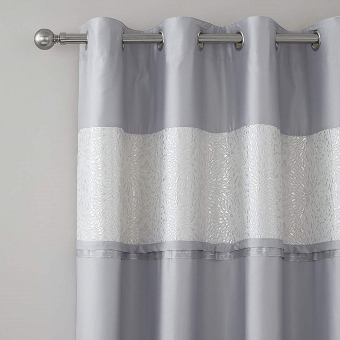 Catherine Lansfield Luxor Jacquard Eyelet Curtains Silver, 66x90 Inch