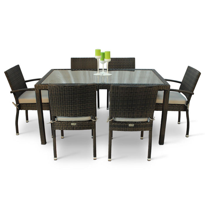 BrackenStyle Rectangular Rattan Dining Set - Seats 6