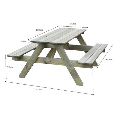 BrackenStyle Kids Picnic Table - Seats 4-6 Children