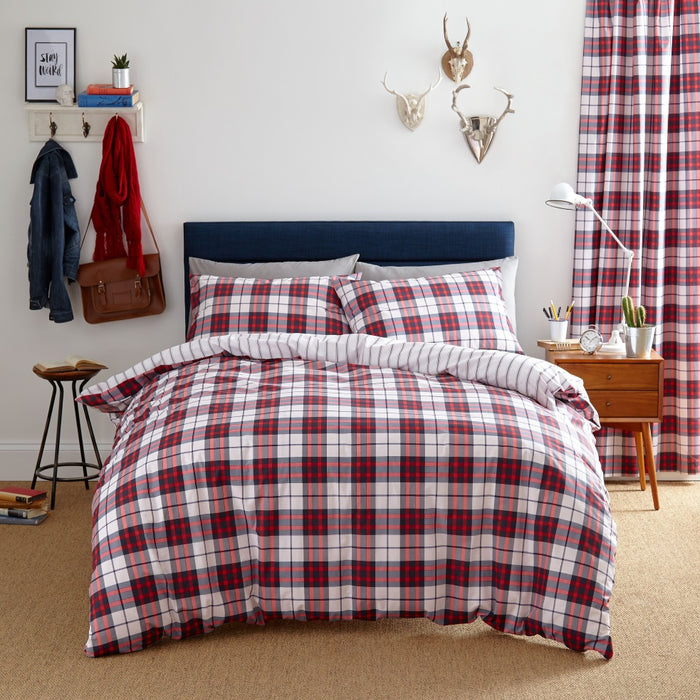 Catherine Lansfield Henley Check Red Duvet Cover Set