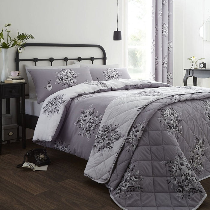 Catherine Lansfield Floral Bouquet Easy Care Bedspread Grey, 220x230cm