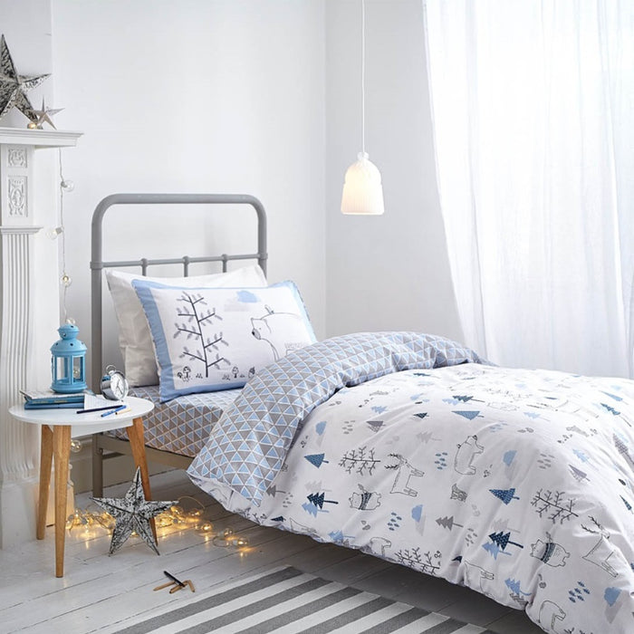 Bianca Nordic Blue Print Fitted Sheet - Single