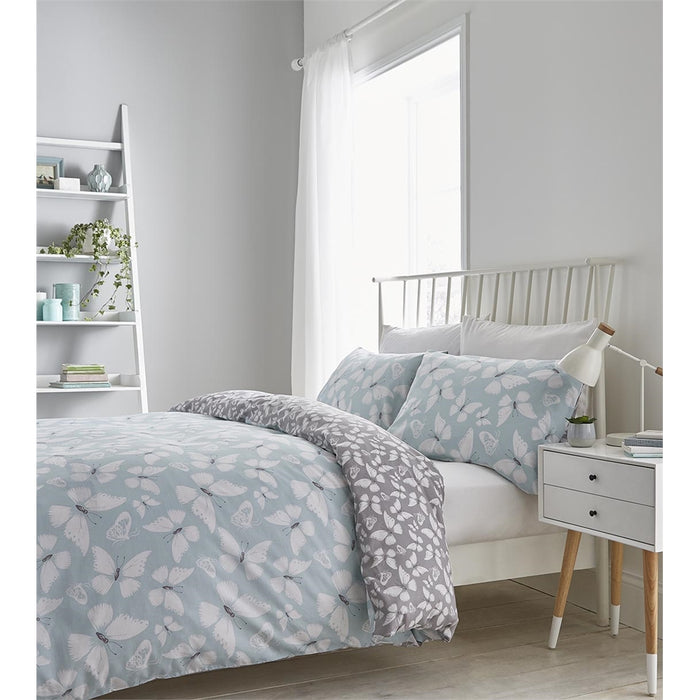Catherine Lansfield Butterfly Duck Egg Duvet Cover Set