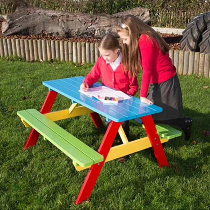 BrackenStyle Painted Primary School A Frame Picnic Table - 6-9 Years