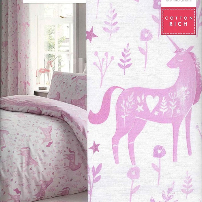 Catherine Lansfield Folk Unicorn Easy Care Eyelet Curtains Pink, 66x72 Inch