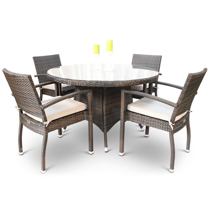 BrackenStyle Juliana Round Rattan Dining Set With Glass Table - Seats 4