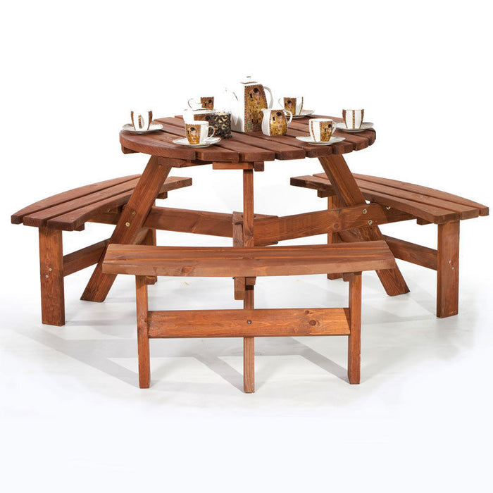 BrackenStyle York Round Picnic Table - Seats 8
