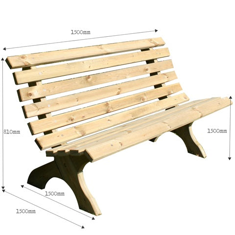 BrackenStyle Lilly Pine Bench - 3 Seater