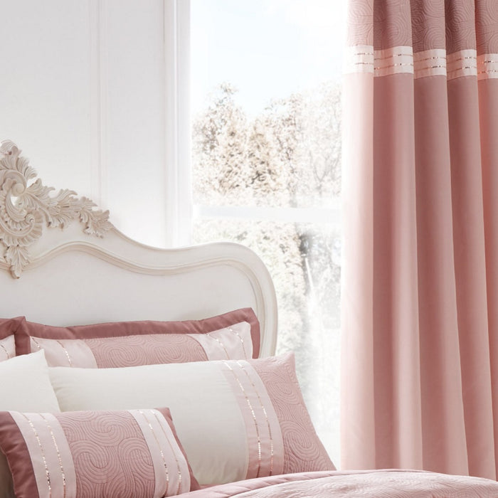 Catherine Lansfield Gatsby Pink Pencil Pleat Curtains  - 66x72 Inches (168x183cm)