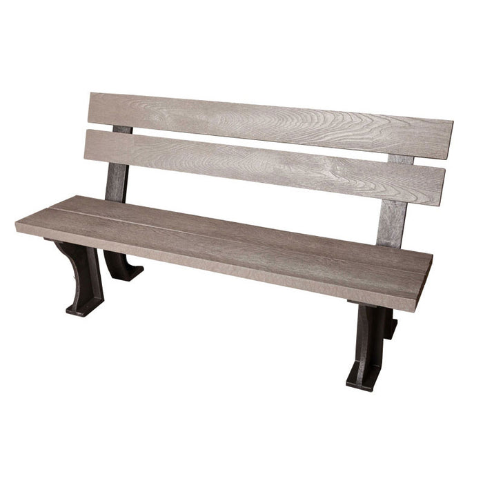 BrackenStyle 100% Recycled Armless Plastic Bench - Grey
