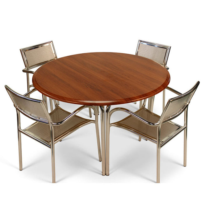 Brackenstyle Aluminum Chair & Cherry Round Table Set - Seats 4