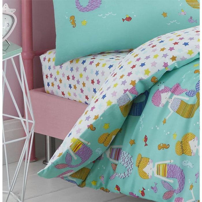 Catherine Lansfield Kids Mermaid Cotton Rich Fitted Sheet