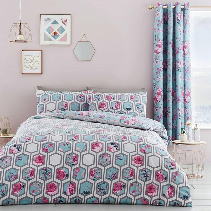 Catherine Lansfield Hexagon Floral Eyelet Curtains Teal 66x72 Inch