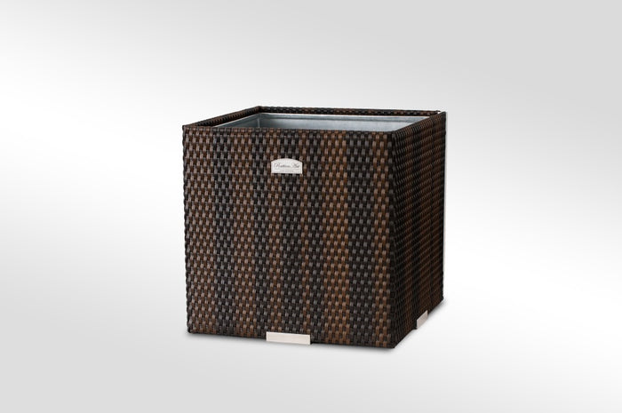 Brackenstyle Exclusive PolyRattan Small Cube Planter - Brown Weave