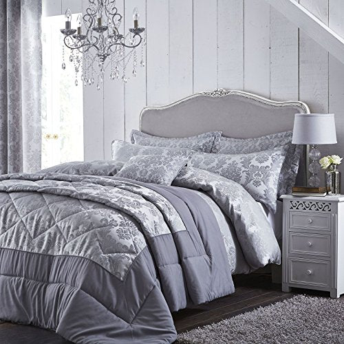 Catherine Lansfield Damask Jacquard Super King Duvet Set Silver