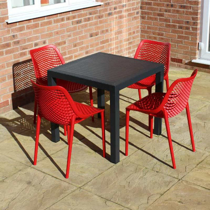 Brackenstyle Madrid Table and 4 Red Orion Chairs