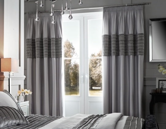 Catherine Lansfield Corded Velvet Band Grey Eyelet Curtains
