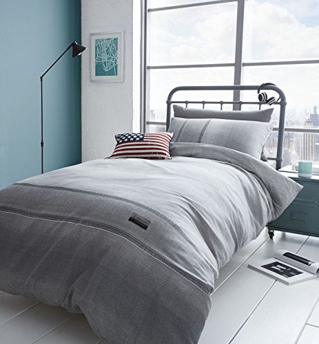 Catherine Lansfield Denim Easy Care King Duvet Set Grey
