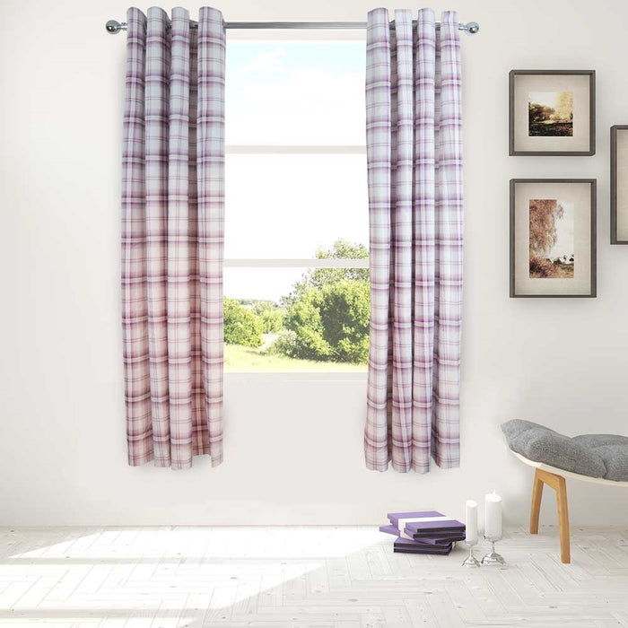 Catherine Lansfield Kelso Heather Curtains - 66x72 Inches (168x183cm)