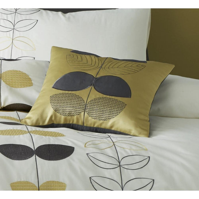 Catherine Lansfield Embroidered Scandi Leaf Super Cushion Cover - Ochre