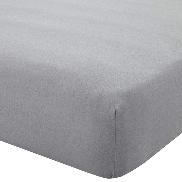 Catherine Lansfield Brushed Blanket Stitch Grey Fitted Sheet