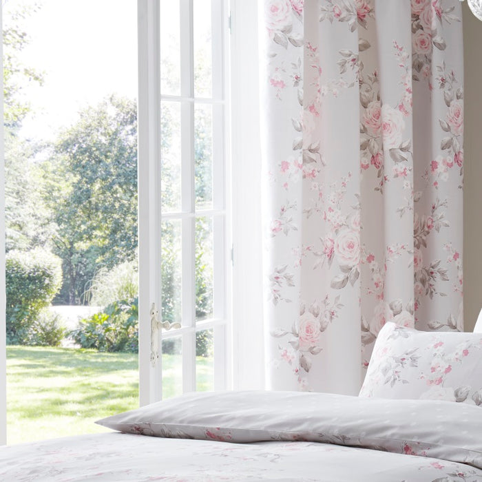 Catherine Lansfield Canterbury Grey Curtains 66x72 Inches (168x183cm)