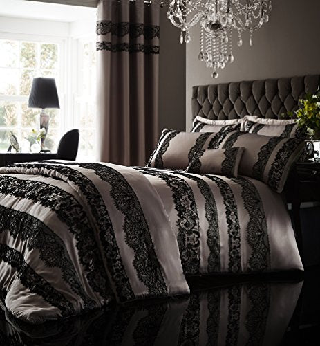 Catherine Lansfield Glamour Flock Lace Duvet Cover Set - Single