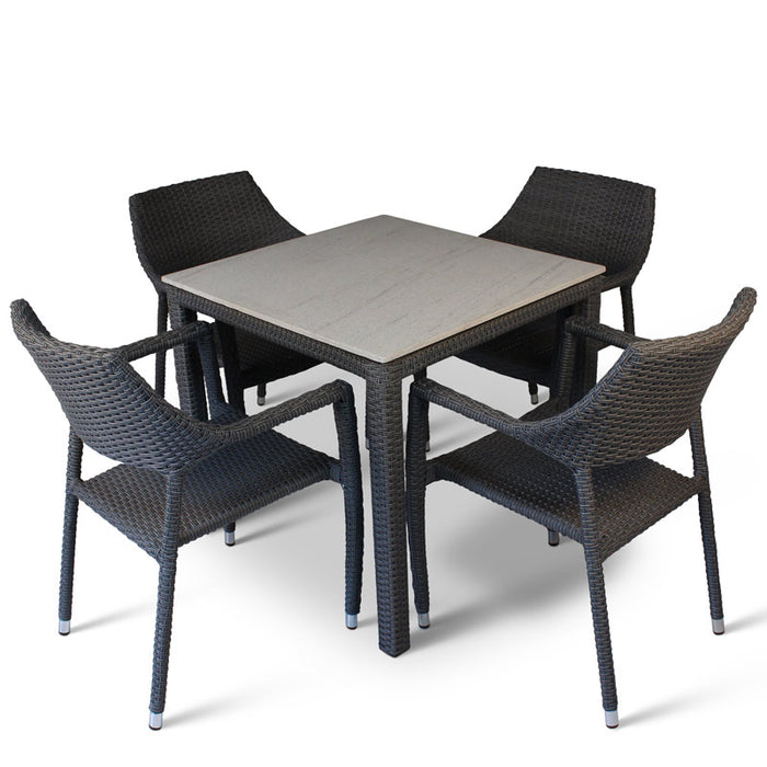 BrackenStyle Oasis Condensed Grey Table & Chairs Set - Seats 4