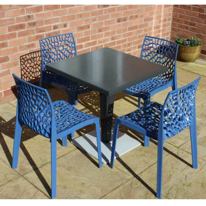 Brackenstyle Madrid Pedestal Table and 4 Avio Blue Neptune Chairs