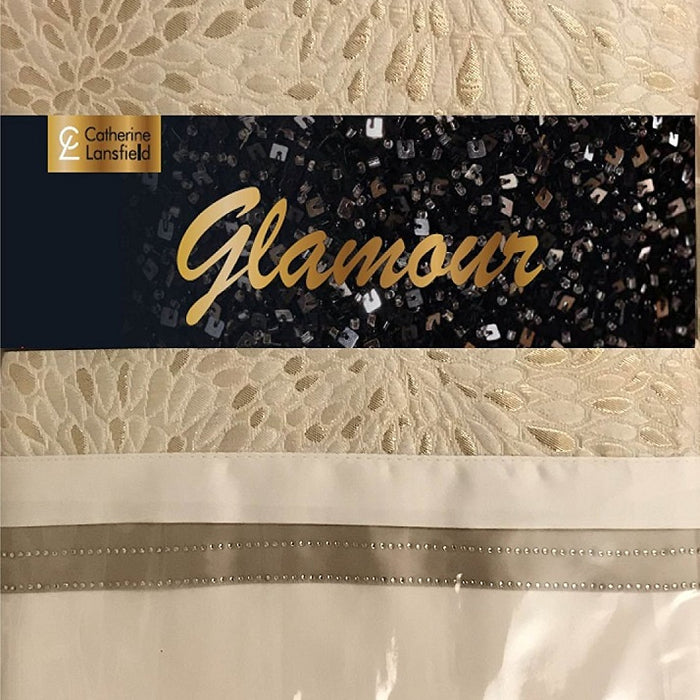 Catherine Lansfield Luxor Jacquard Super King Duvet Set Gold