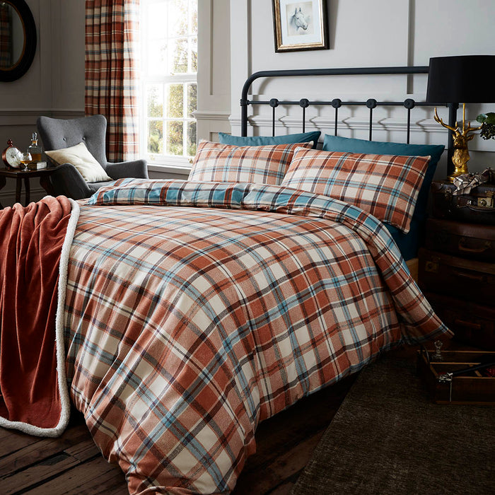 Catherine Lansfield Heritage Kelso Spice Check Duvet Set