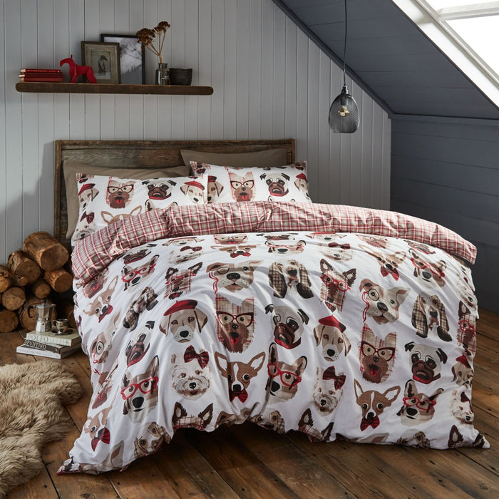 Catherine Lansfield Dapper Dogs Double Duvet Set, Multi