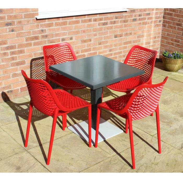 Brackenstyle Madrid Pedestal Table and 4 Red Orion Chairs - Seats 4