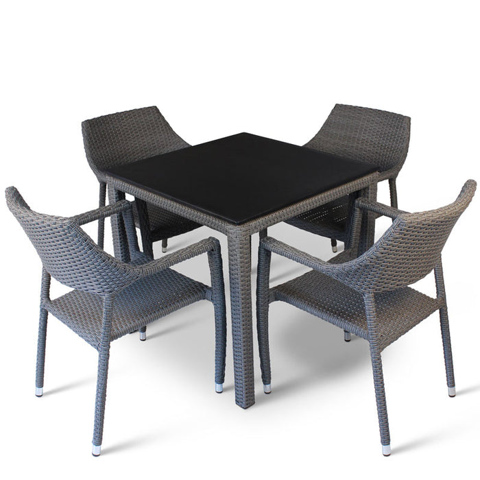 BrackenStyle Oasis Modern Black Table & Chairs Set - Seats 4