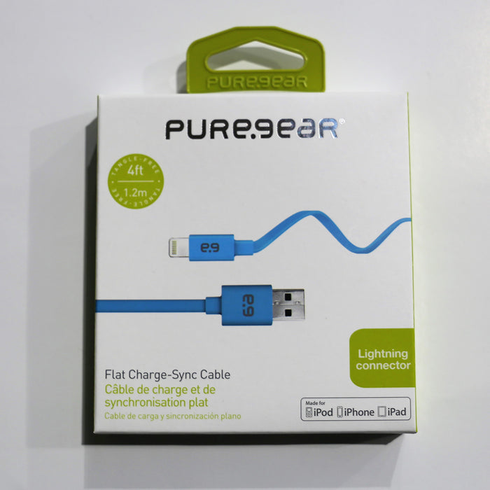 Puregear Flat Charge-Sync Cable, 1.2m - Blue