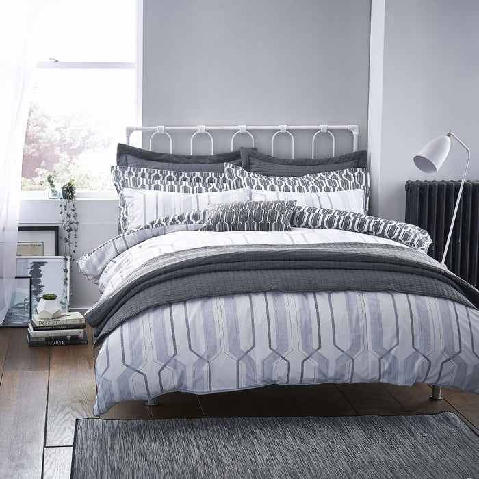 Bianca Geo Cotton Print Grey Oxford Pillowcase