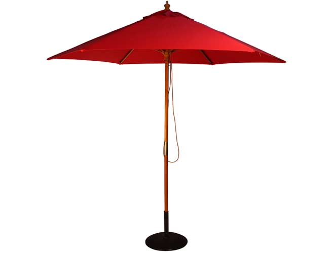 Brackenstyle Parasol Wood Pulley 2.5m Red