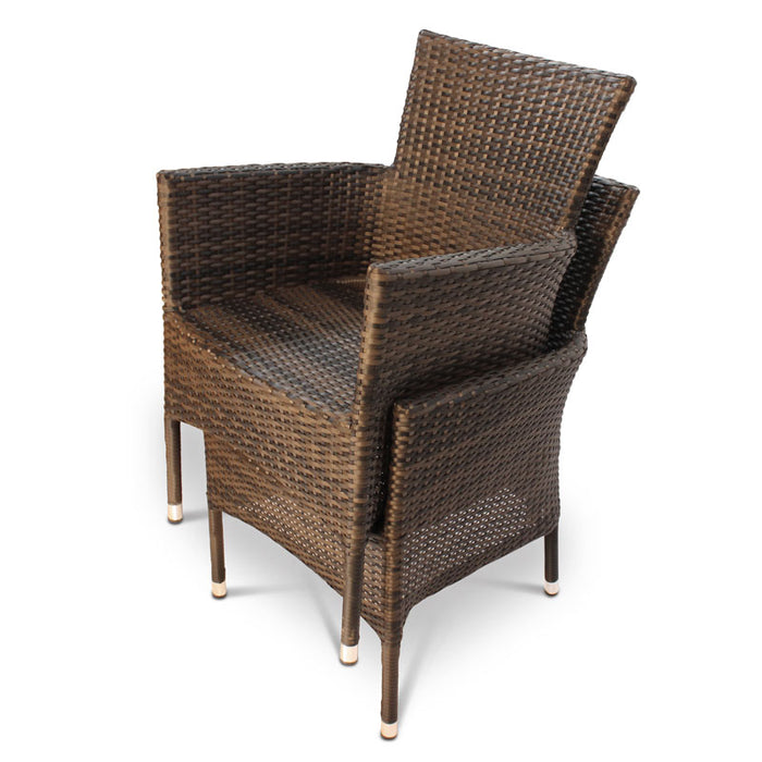 BrackenStyle Alonso Rattan Dining Set With Glass Top Table - Seats 4