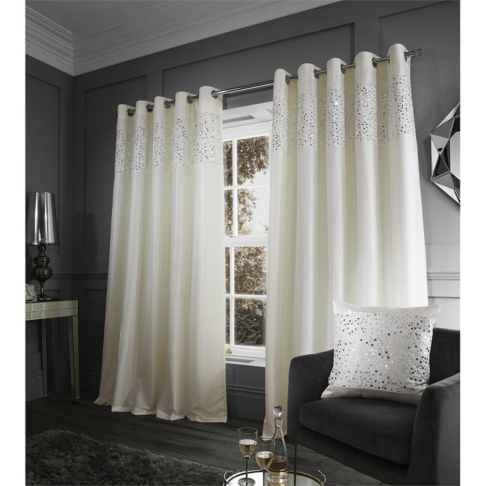 Catherine Lansfield Glitzy Eyelet Curtains Cream, 66x54 Inch