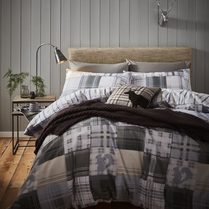 Catherine Lansfield Brushed Woodland Animals Grey Duvet Cover Set